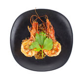 Dish of fried shrimp with garlic and pepper Royalty Free Stock Image