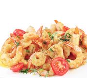 A dish of fried shrimps isolated Stock Photos