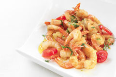 A dish of fried shrimps in a towel Stock Image