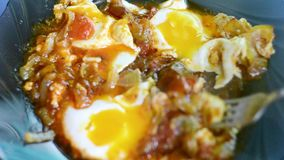 A dish of fried tomatoes, onions and eggs. A dish of fried tomatoes, onions and eggs stock footage