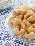 Dish of Fritto Misto di mare with Herb Dressing Stock Photo