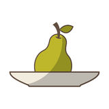 dish with fruit drawing icon Royalty Free Stock Photography