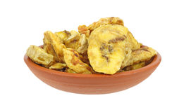 Dish full of freshly roasted banana chips Royalty Free Stock Photography