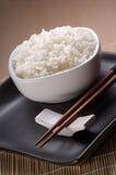 Dish full of plain rice stock photos
