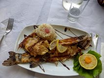 A dish of a grilled fish with around rice, lemon and green salad for decoration, ready to have eaten. White tablecloth. Knife and fork. Glass of water stock image