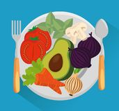 Dish with group vegetables. Vector illustration design Stock Photo