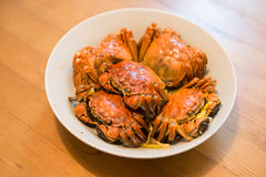 A dish of hairy crabs. Indoor shooting Royalty Free Stock Photos