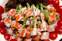 Dish of Ham and Asparagus Salad Royalty Free Stock Images
