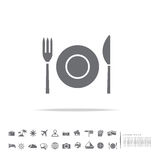 Dish icon on white background. With travel set stock illustration