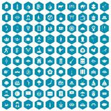 100 dish icons sapphirine violet. 100 dish icons set in sapphirine hexagon isolated vector illustration royalty free illustration