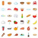 Dish icons set, cartoon style Royalty Free Stock Photo