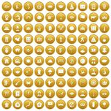 100 dish icons set gold. 100 dish icons set in gold circle isolated on white vectr illustration vector illustration