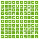 100 dish icons set grunge green. 100 dish icons set in grunge style green color isolated on white background vector illustration Royalty Free Stock Photo