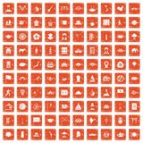 100 dish icons set grunge orange. 100 dish icons set in grunge style orange color isolated on white background vector illustration Royalty Free Illustration