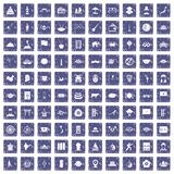 100 dish icons set grunge sapphire. 100 dish icons set in grunge style sapphire color isolated on white background vector illustration Royalty Free Stock Photos