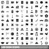 100 dish icons set, simple style. 100 dish icons set in simple style for any design vector illustration Royalty Free Stock Photography