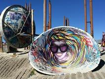 The dish. Interesting art and graffiti around Stavanger, Norway Stock Image