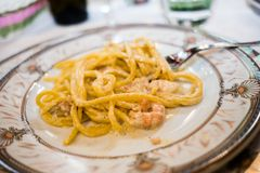 Dish of italian food spaghetti a la carbonara overlook shot royalty free stock photos