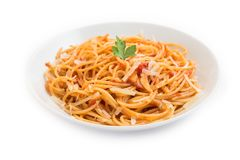 Spaghetti with tomato and cheese Stock Image