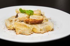 Dish of italian swivels pasta with porcini mushrooms and sauce bechamel with pepper Stock Images