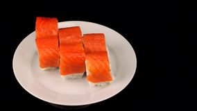 Dish of Japanese cuisine, rolls on the plate. Full HD stock video