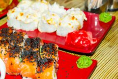 Dish in a Japanese restaurant. Sushi. Place for your text stock photography