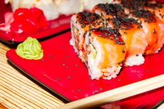 Dish in a Japanese restaurant. Sushi. Place for your text stock image