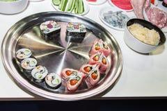 Dish with Japanese sushi rolls Stock Image