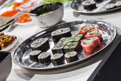 Dish with Japanese sushi rolls Royalty Free Stock Images