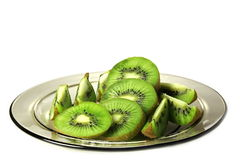 Dish with kiwi. Dish with kiwi cut in pieces Royalty Free Stock Photos