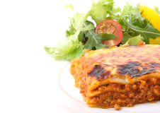 Dish of lasagne isolated Royalty Free Stock Photography