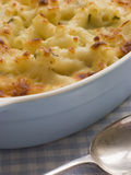 Dish of Macaroni Cheese stock photos