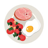 Dish with meat and egg. Illustration design Stock Images
