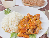 A dish of meat and rice. Dish of rice and meat with vegetables Stock Photography
