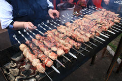 Dish of meat skewers. Cooking on an open fire is a traditional dish of meat Skewers Stock Photo