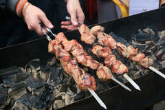 Dish of meat skewers. Cooking on an open fire is a traditional dish of meat Skewers Stock Photography