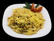Dish of meat, vegetables, spices, basil, herbs and cheese - pasta alla carbonara isolated Royalty Free Stock Photos