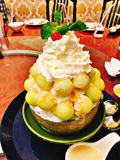 A dish of melon bingsu. A dish of melon bingsu in Thailand royalty free stock photography