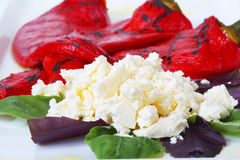 A dish of milk cheese and baked sweet red peppers Royalty Free Stock Photo