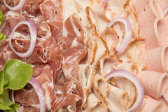 Dish of mixed cold cuts food for background Royalty Free Stock Photo