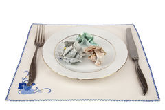 Dish of money it is business dinner Stock Images