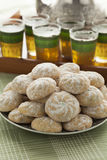 Dish with Moroccan festive homemade ghoriba cookies close up Stock Image