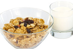 A dish of muesli a glass of fresh milk Royalty Free Stock Photo