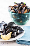 Dish of mussel shells and bowl of mussels Royalty Free Stock Images