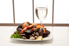 Dish with Mussel and shrimp Stock Photo