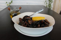 A of a dish of mussels Royalty Free Stock Photography