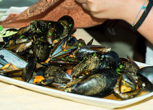A dish of  mussels pics with tomato sauce, open. Stock Photo