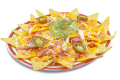 Dish of nachos with cheese. Plate of nachos with cheese, Mexican recipe photographed in Tenerife Spain Stock Photo