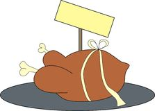 Dish number 1. Funny turkey in a present package on a plate, with empty signboard behind it Royalty Free Stock Images