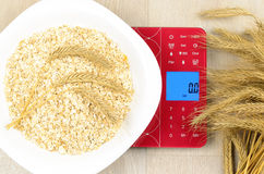 Dish of oatmeal on electronic kitchen scales Royalty Free Stock Photography